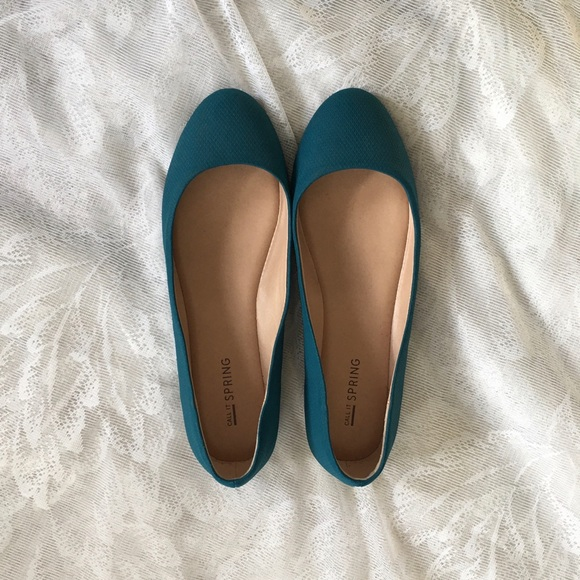 Call It Spring teal flats with gold trim, US 7.5